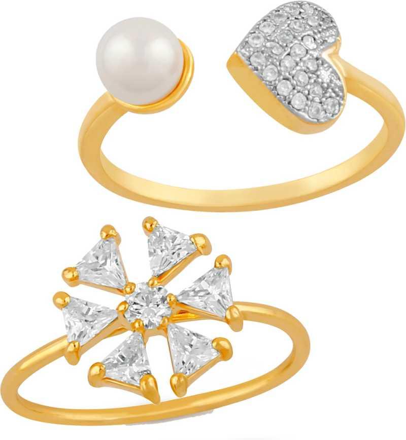 c77319e0ab9 Immense Love Finger Rings Combo Alloy Cubic Zirconia 24K Yellow Gold ...